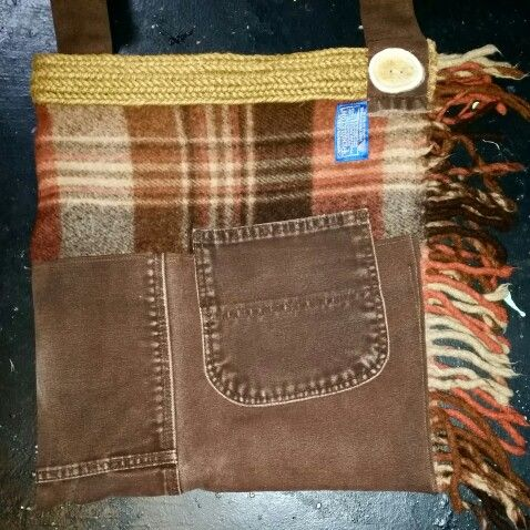 Pendleton blanket/carhart jeans cross body bag