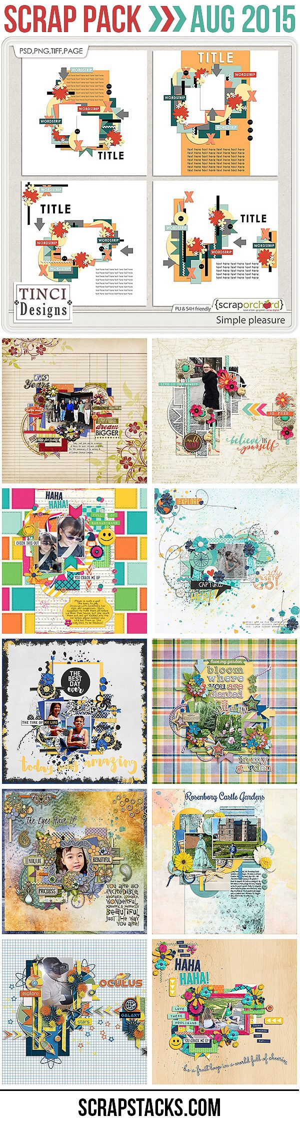 Scrap Pack August 2015: Templates by Tinci Designs