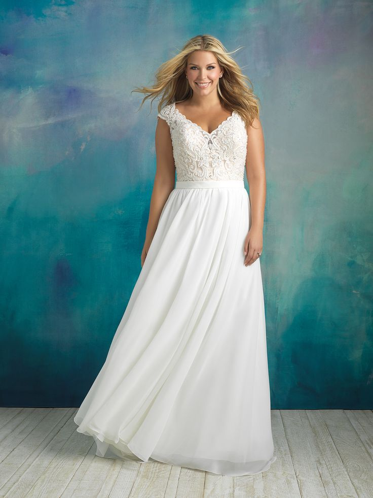 Allure Bridal style W415. Available in sizes 16W-32W. Stock size 18W.
