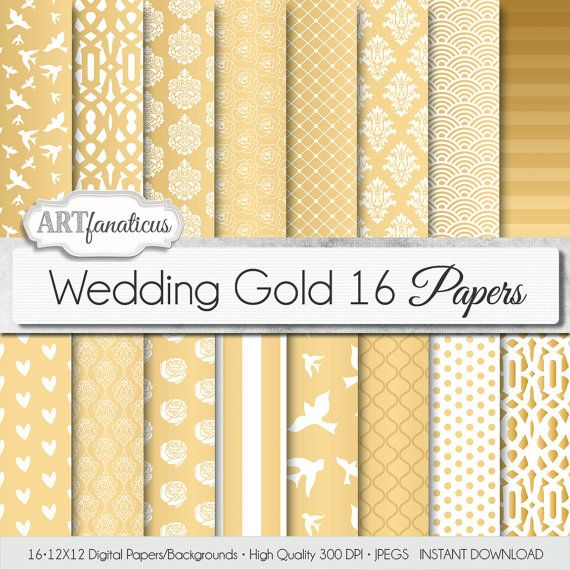 Wedding digital papers WEDDING GOLD gold by Artfanaticus on Etsy, $4.90