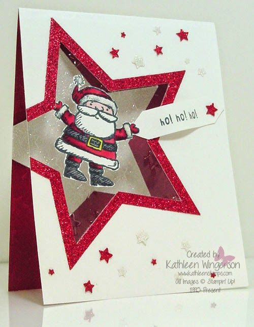 SU - cute and unique Christmas card made with the Get Your Santa On stamp set from Stampin Up by Kathleen Wingerson www.kathleenstamps.com