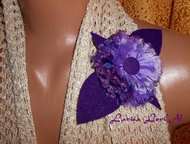 """Брошь """"Сиреневый цветок"""" в фиолетово-сиреневых тонах. Выполнена из кашемира и шёлка. Размер 15*10 см.  Оплата на банковскую карту (номер карты ..."""