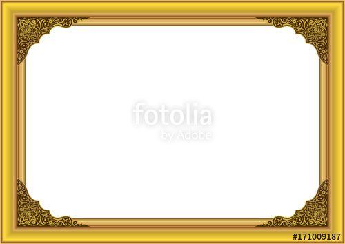 Vector:  Gold Frame with floral ornament on inside corner