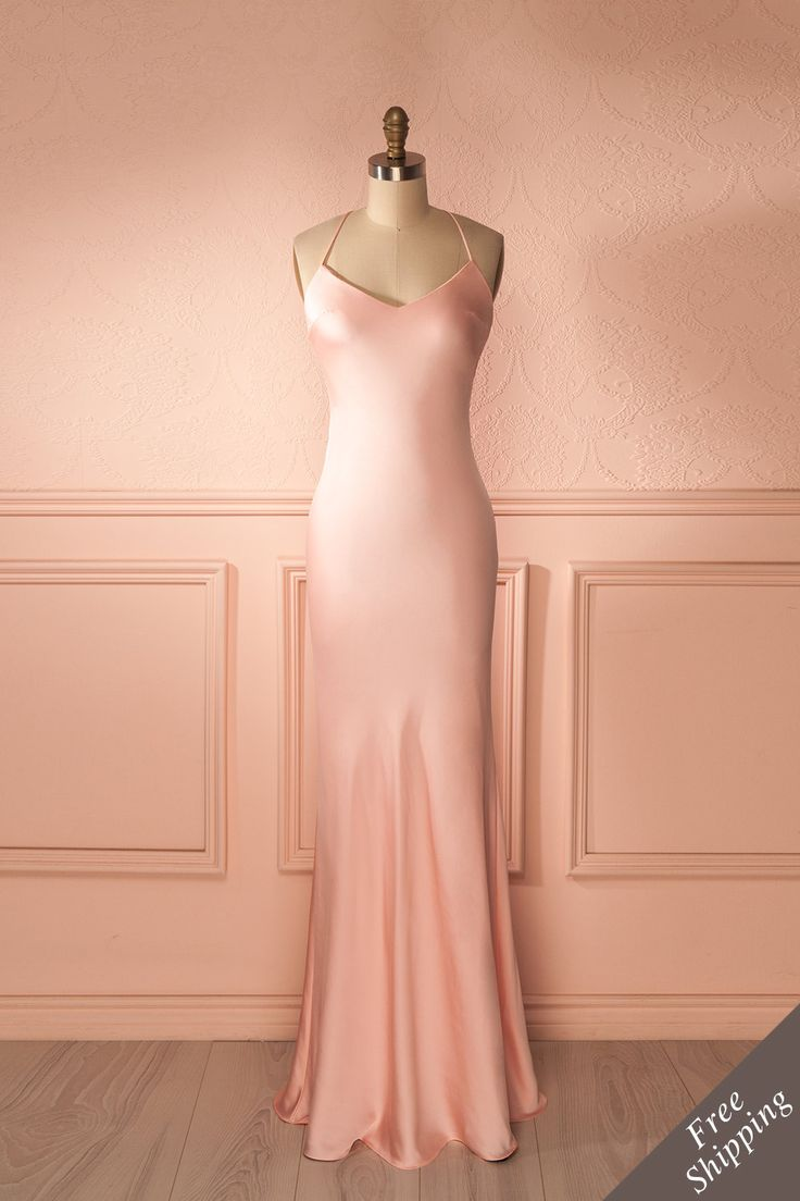 robe longue ajuste rose bretelles fines dos ouvert blush fitted maxi dress thin straps