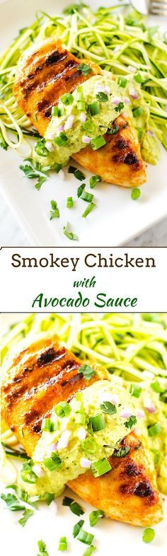 Smokey Chicken with Avocado Sauce - This easy to make dinner is gluten free and has a dairy free option. #glutenfree
