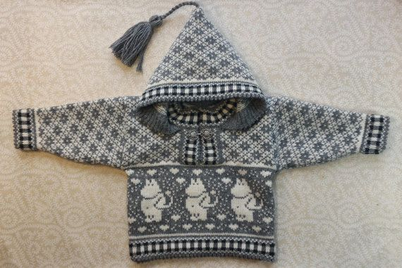 Trendy winter sweater for children with moomin pattern by LanaNere