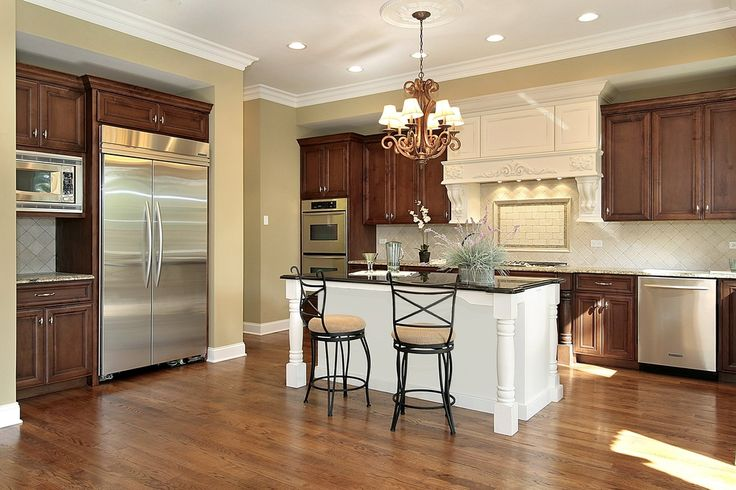 31 new custom white kitchens with wood islands dark wood kitchens dark wood and stove - White kitchen with dark island ...