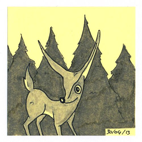365 #daily #post-it #drawing of a deer