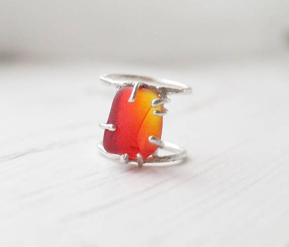 Red Sea Glass Ring. Genuine Seaham Multi Sea Glass. Rustic