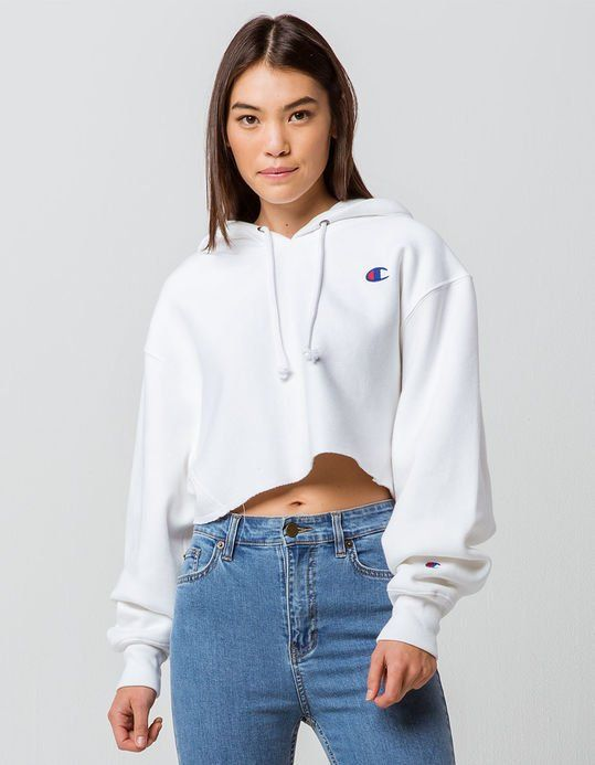 dd836305 CHAMPION Reverse Weave White Womens Crop Hoodie | Clothing in 2019 ...