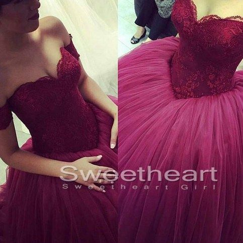 Sweetheart Lace Tulle Long Prom Gown, Formal Dress, Sweet 16 Dress #prom #promdress #promgown #coniefox #2016prom