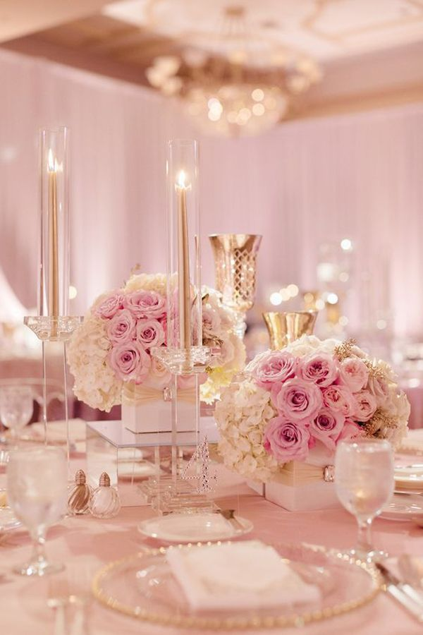 Blush pink wedding decor with rose gold accents. Oh-so-elegant!