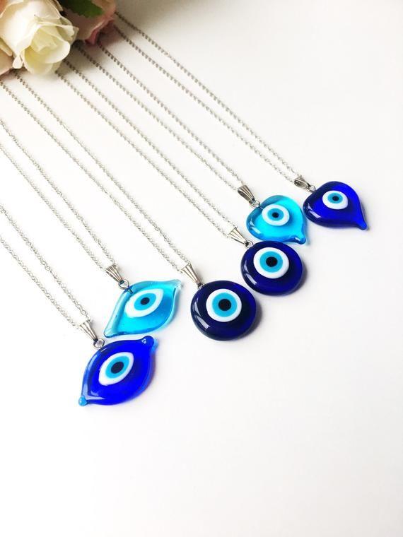 Evil Eye Necklace Blue Evil Eye Bead Evil Eye Charm Etsy In 2020 Evil Eye Necklace Evil Eye Jewelry Eye Jewelry