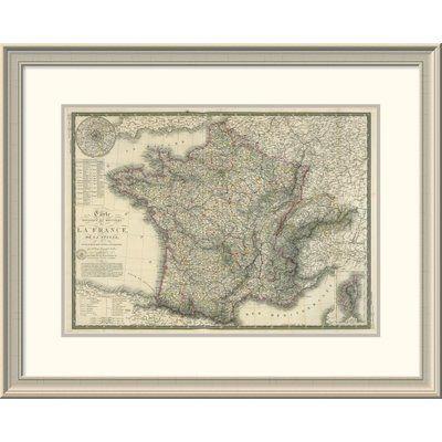 """East Urban Home 'Carte Physique Et Routiere De La France, De La Suisse, 1827' Framed Print Size: 24"""" H x 30"""" W x 1.5"""" D"""