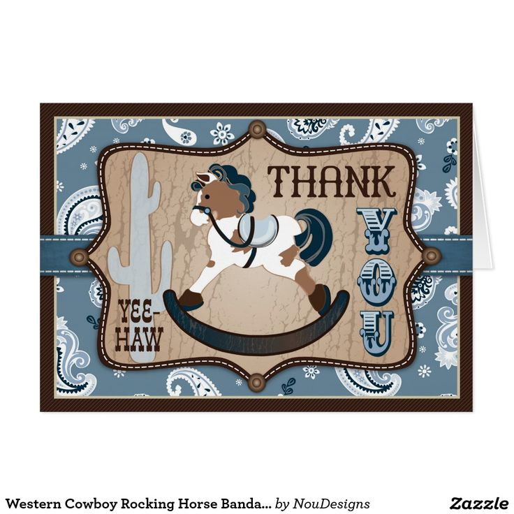what to write in my bridal shower thank you cards%0A Western Cowboy Rocking Horse Bandanna Thank You Card