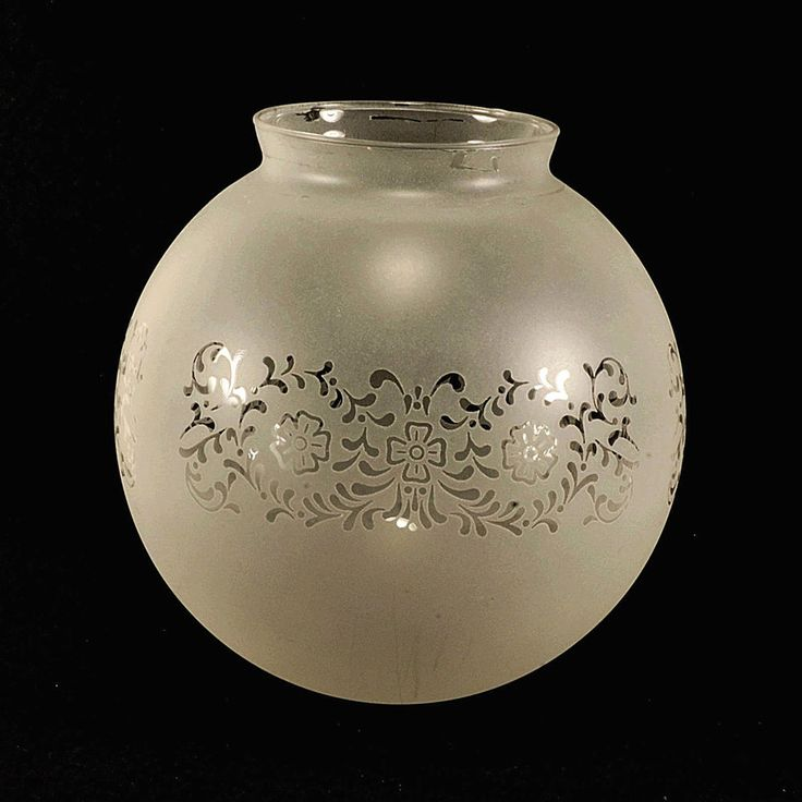 Antique Ceiling Light Globe Shade – Frosted Glass Etched Floral Design 6 ¾""