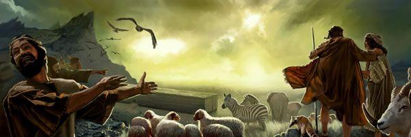 Personas fuera del arca burlándose de Noé y su familia