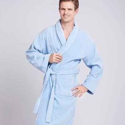 52,90€ Peignoir Coton Bleu Ciel Homme -- Peignoir homme 100% coton bleu ciel à col châle avec petit liseré