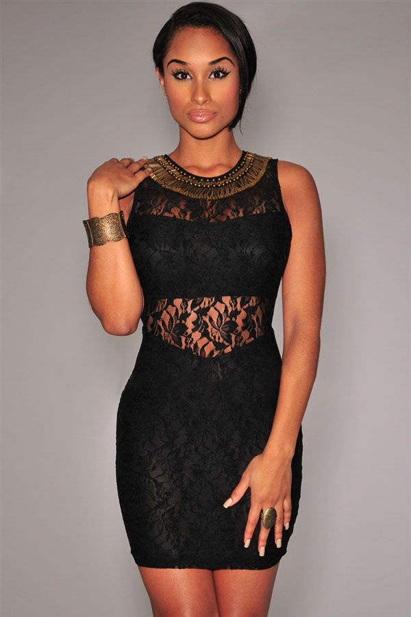 Black Lace Bronze Embellished Mini Dress 7AU$69