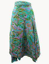 Easy Breezy Silk Sari Wrap Skirt Aqua