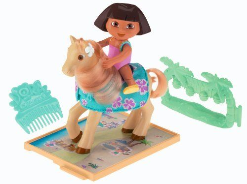 Fisher-Price Dora's Pony Adventures Playset: Dora and Lickety Split by Fisher-Price. $28.99. Girls can groom the pony?s mane and tail. Connect the pathway and jumping fences to other Pony Adventure playsets. Includes the Dora, Lickety Split, a comb, jumping fences and a pathway. Create your own special pony adventures with Dora and Lickety Split. Dora can ride on Lickety Split. From the Manufacturer                Go on a pony adventure with Dora. Dora can ride on ...