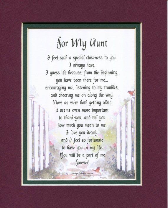 Aunt Poem Print Christmas Gift 50th 60th 70th 80th 90th