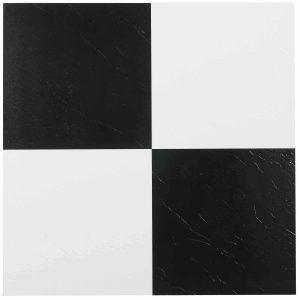 Black White Checkerboard Self Stick Vinyl Floor Tiles