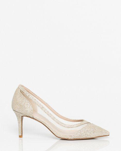 LE CHÂTEAU: Glitter Mesh Pointy Toe Pump