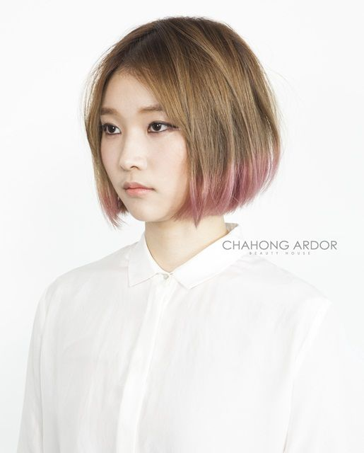 #pink #honey #brown #twotone #hair #color #beauty #cut #chahongardor