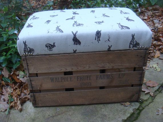 vintage apple crate stool , HARES IN NATURAL,  storage crate. original �95