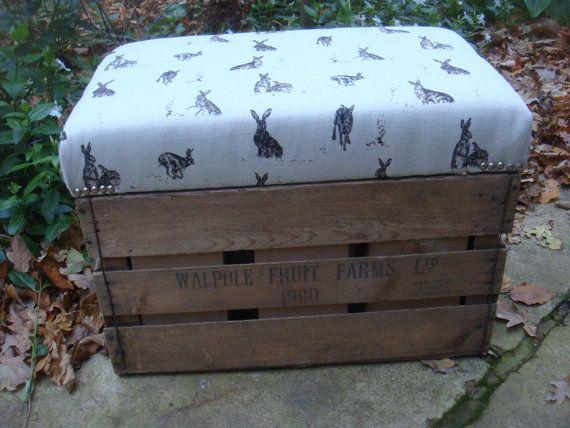 vintage apple crate stool , HARES IN NATURAL,  storage crate. original �95