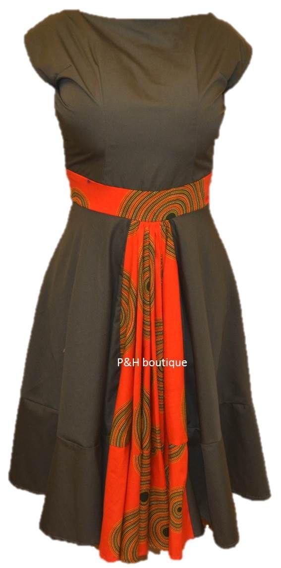 Military green and orange ankara dress.  #AnkaraDress #AnkaraFashion #AfricanFashion #AfricanPrint #AfricanDress #Capulana