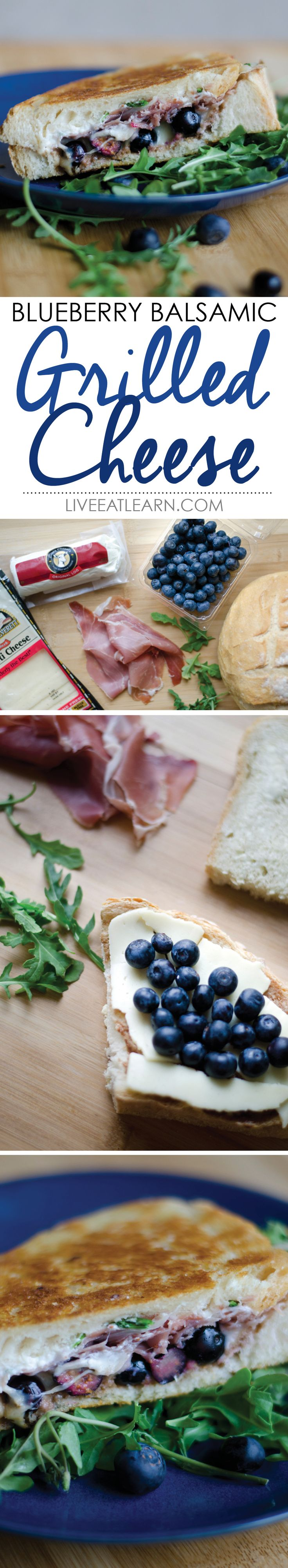 Blueberry balsamic grilled cheese sandwich with goat cheese, arugula, and prosciutto // Live Eat Learn