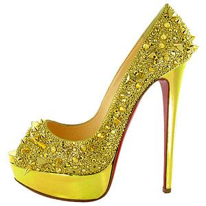 christian louboutin yellow studded peeptoe heels