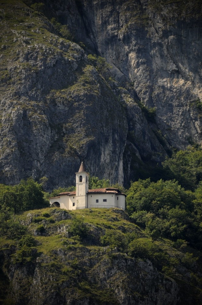 Little church on a hill slope. France.