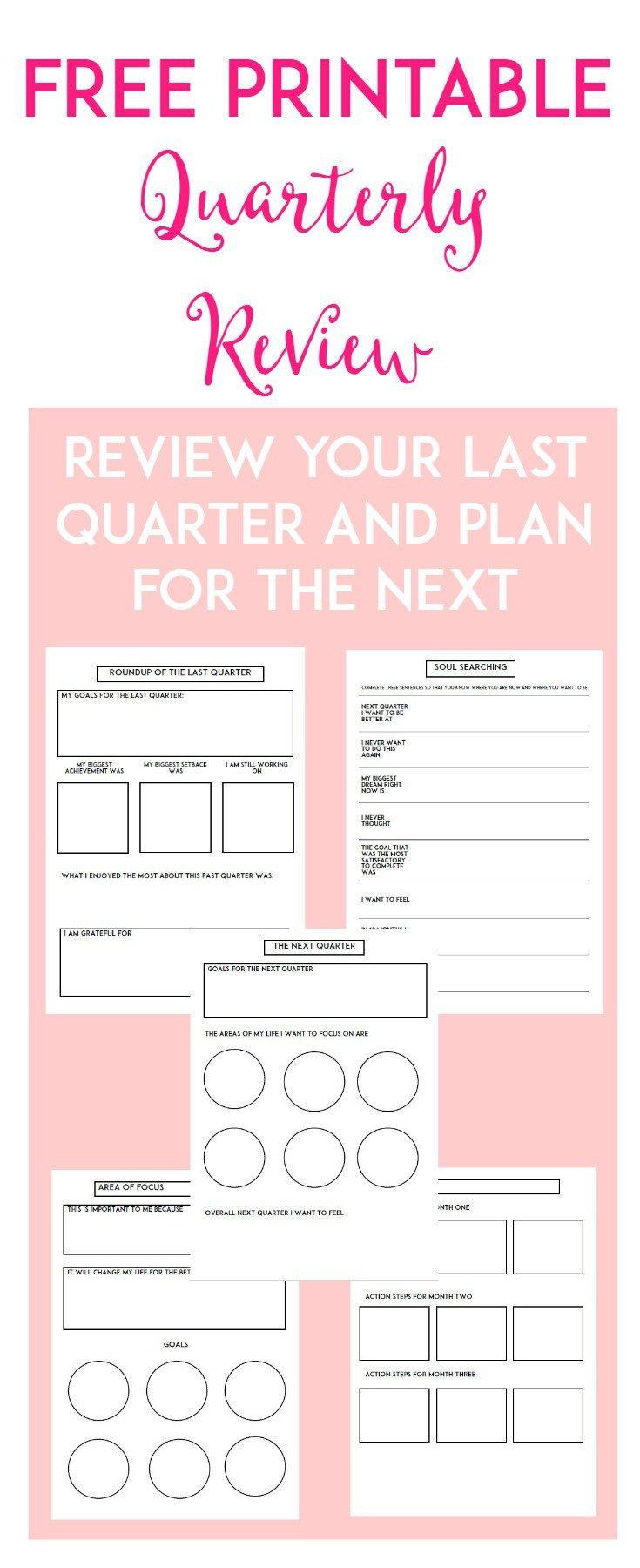 Free Printable Quarterly Review Worksheets from Acorns and Lemonade.com {newsletter subscription required}