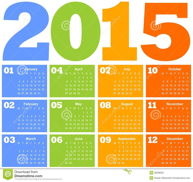 "Interesting use of quarters!  (Actually, I wouldn't have thought of this, but search these stock sites for ""calendar 2015"" -- there's some great inspiration!)  Calendar For Year 2015  Image: 26508023 at Dreamstime.com"