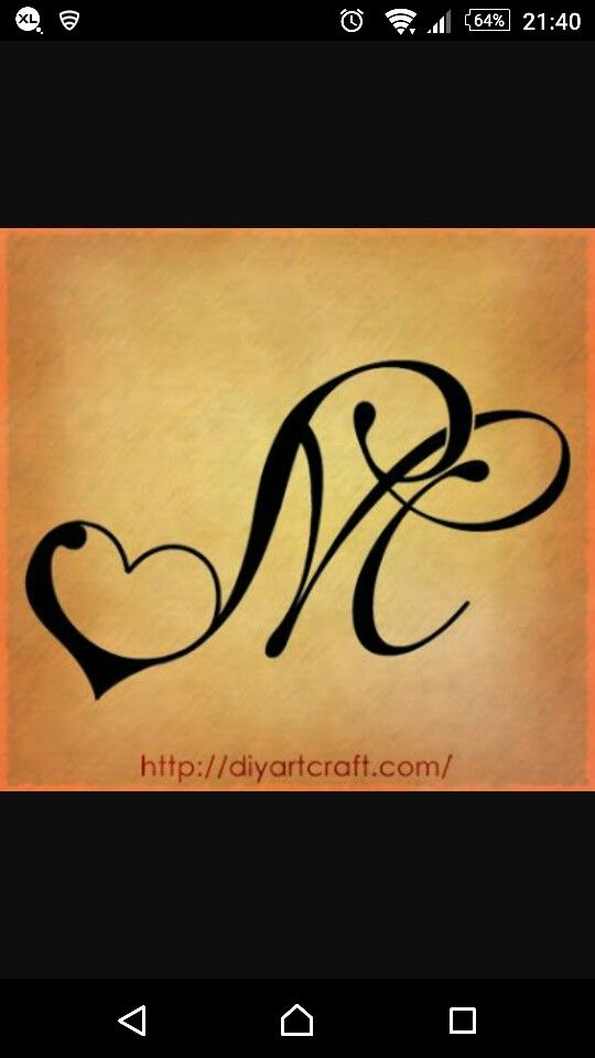 M And Heart Embroidery Alphabet Tattoos Letter M Tattoos M