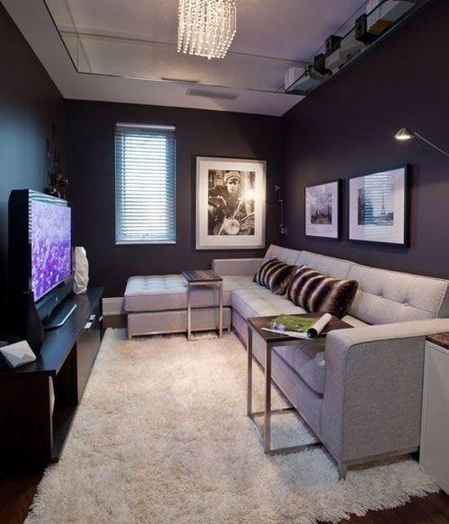 sala de estar pequena decorada com  sofá cinza, paredes escuras e espelho no teto