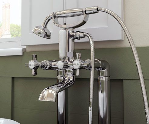 Edwardian Traditional Floorstanding Bath Shower Mixer Tap - V40111091LE scene square medium