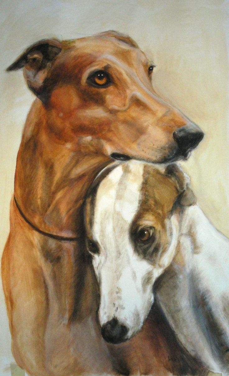 Fritzen greyhounds - acrylic on canvas Painting by Lucilla Bollati