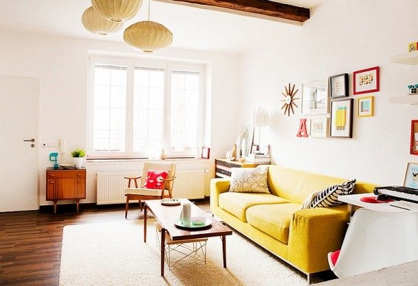 Furniture - Amazing Pops Of Color For Small Living Room Involving Yellow Sofa Coupled With Simple Wooden Coffee Table: Creative Sofa Design Ideas for Your Modern Living Room