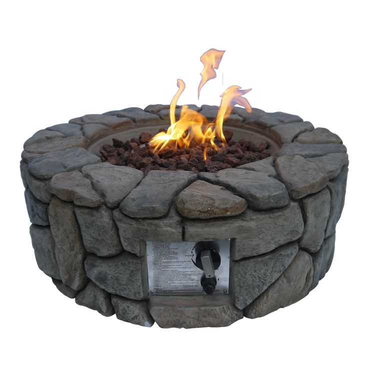 Peaktop - Outdoor Stone Gas Fire Pit with Cover