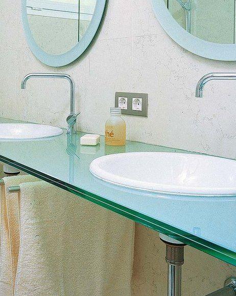 lavabos encastrados en encimera de cristal