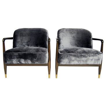 Check out this item at One Kings Lane! Mid-Century Velvet Chairs, Pair