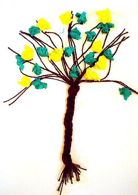 Geflochtener Herbstbaum aus Wolle - Pflanzen Basteln - Meine Enkel und ich - Made with schwedesign.de