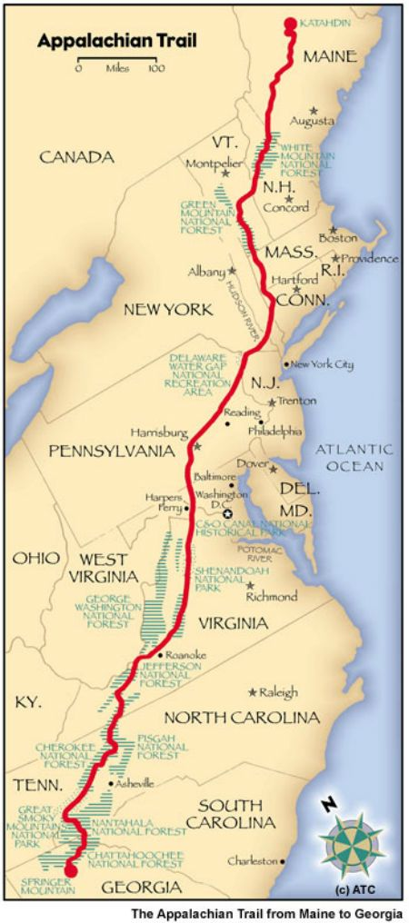 The Appalachian Natural Scenic Trail is a marked hiking trail in the eastern United States extending between Springer Mountain in Georgia and Mount Katahdin in Maine. Map.