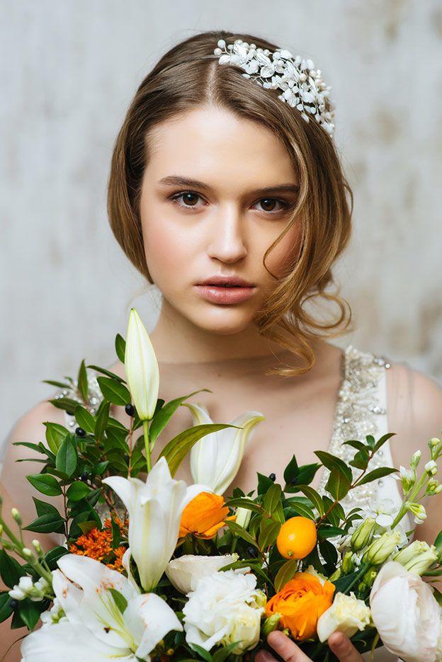 2016 свадебный образ на короткие волосы wedding bride make-up and hair Дарья Черентаева