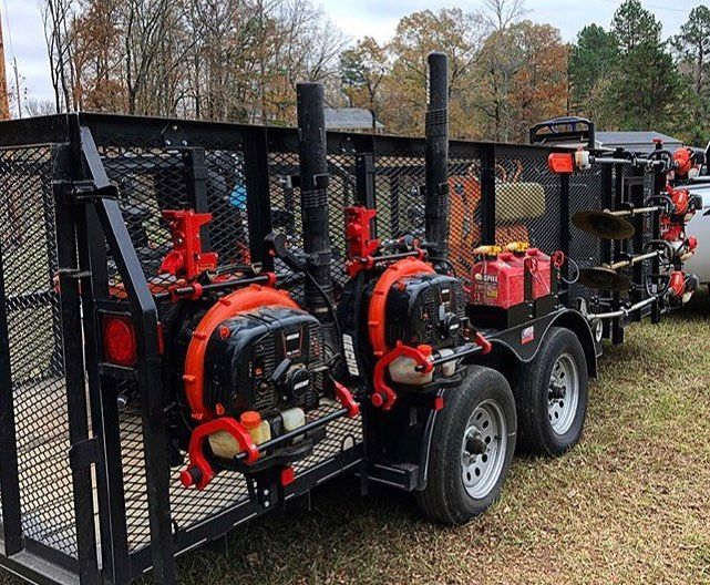 @fallriverlc with our blower racks and trimmer racks setup on his new open trailer. Be sure to subscribe to his YouTube channel!