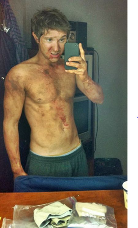 """Sam Huntington - WOOF! – SyFy Channel's """"Being Human"""" Star and resident werewolf Sam Huntington Gets Dirty With His iPhone. (He looks like he's thinking, """"What did those damn make-up people do to me?"""" Poor Sammy. Poor cute adorable Sammy."""
